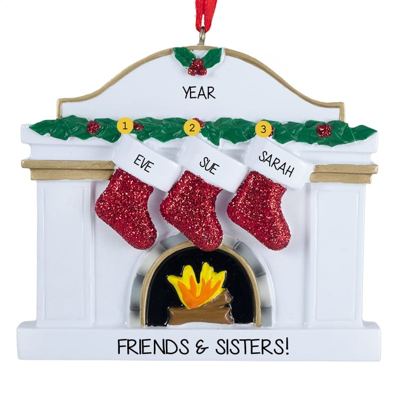 fireplace christmas ornaments with name stockings three sisters glittered stockings on white fireplace