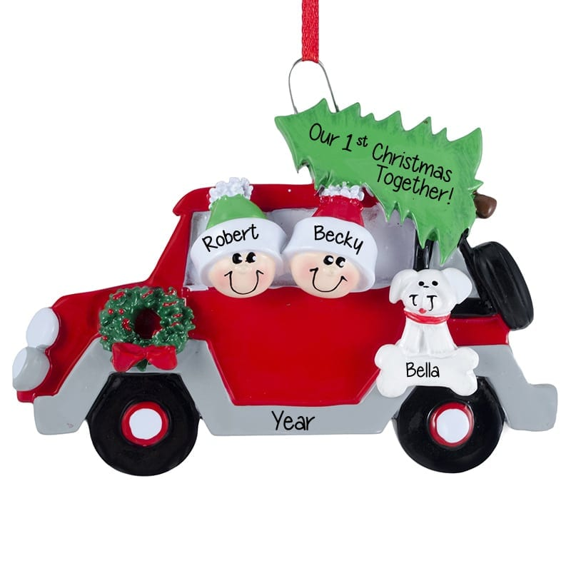 Dogs First Christmas Ornament.Couple S 1st Christmas Dog In Car Personalized Ornament