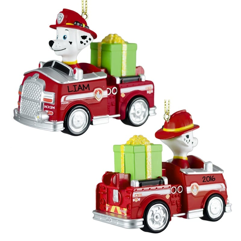 paw patrol marshall in fire truck personalized ornament