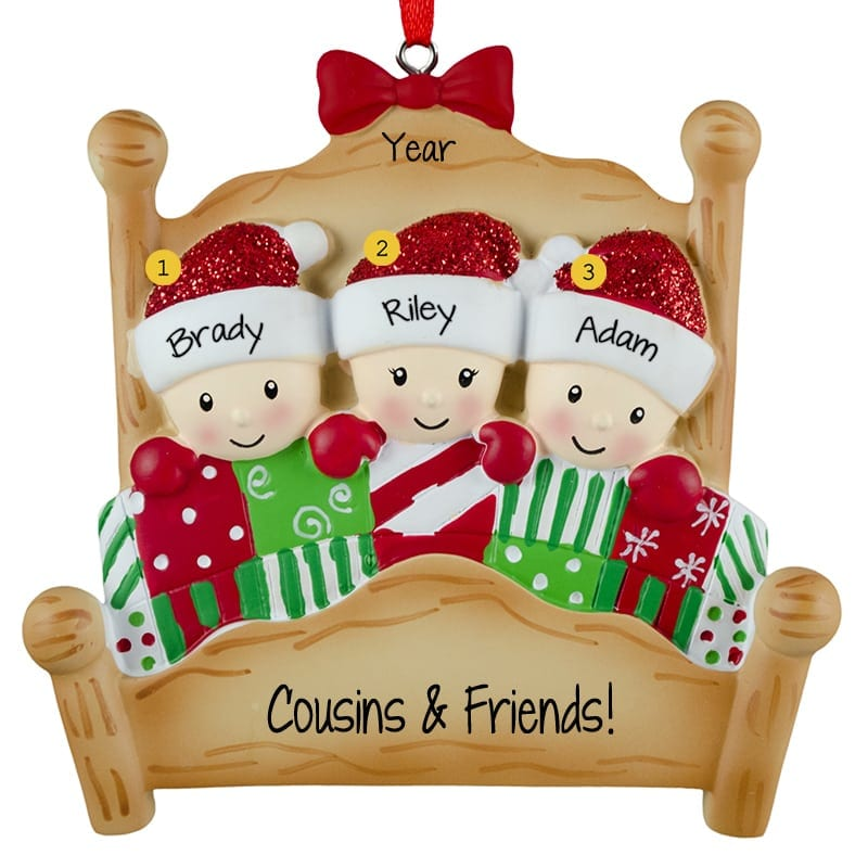 Personalized 3 Cousins In 4 Poster Bed Ornament Personalized