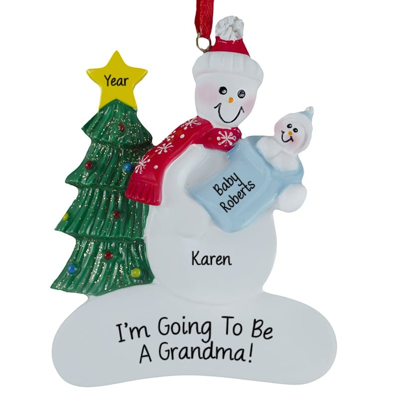 I'm Going To Be A Grandma Baby Boy Ornament   Personalized Ornaments ...