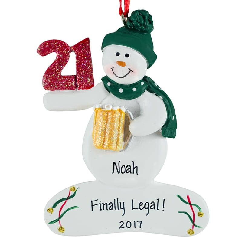 Personalized 21ST Birthday Snowman Holding Beer Mug Glittered
