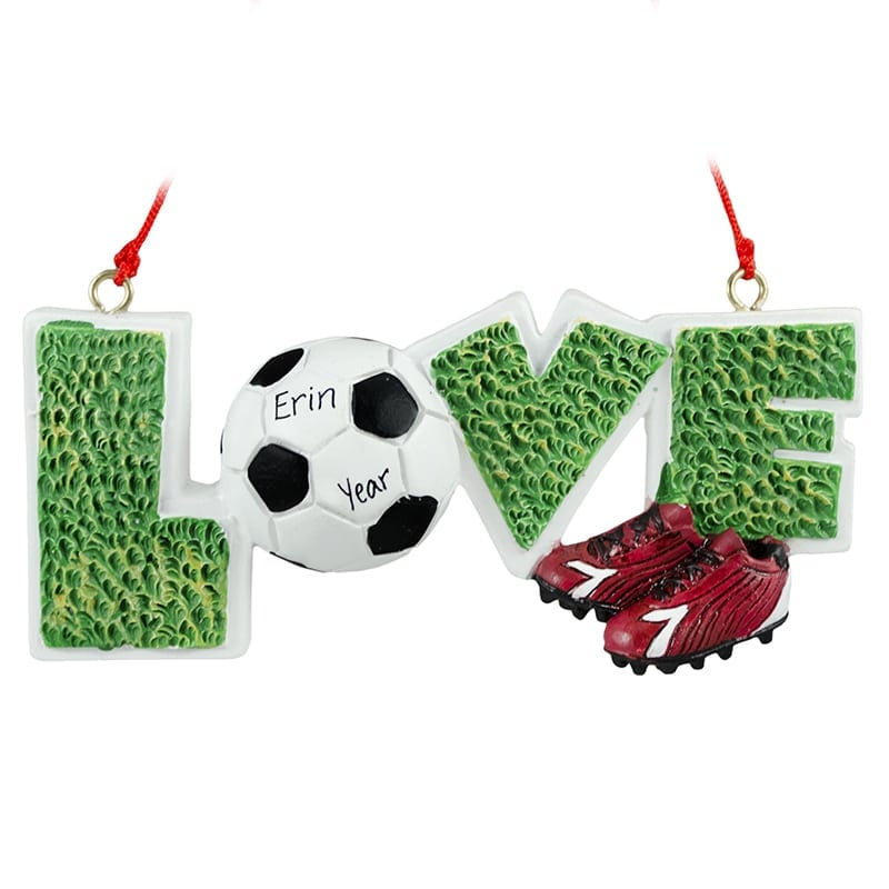 cf9742d30d5 Personalized Soccer + Cleats LOVE Ornament