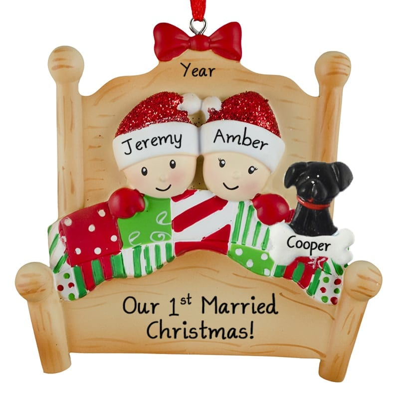 First Married Christmas Ornament 2020 Our 1st Married Christmas Bed Couple + Dog Ornament | Personalized
