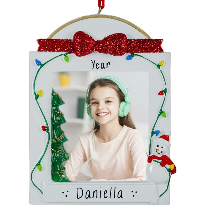 Personalized Photo Frame Glittered Bow Christmas Lights Ornament ...