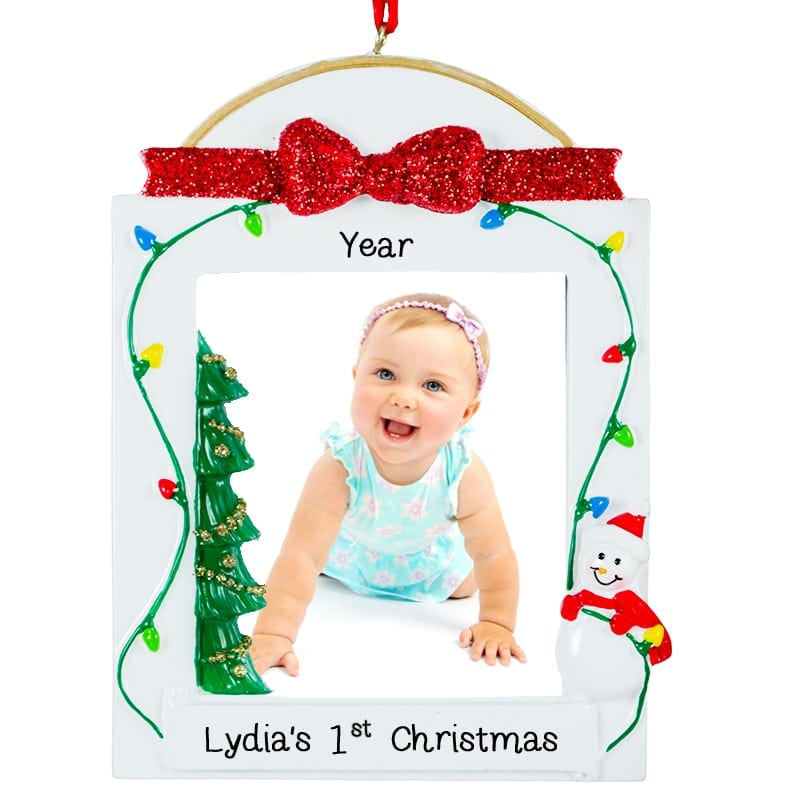 Baby Girl\'s 1St Christmas Picture Frame Snowman Glittered Ornament ...