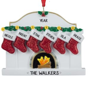 personalized family of 6 fireplace glittered stockings ornament