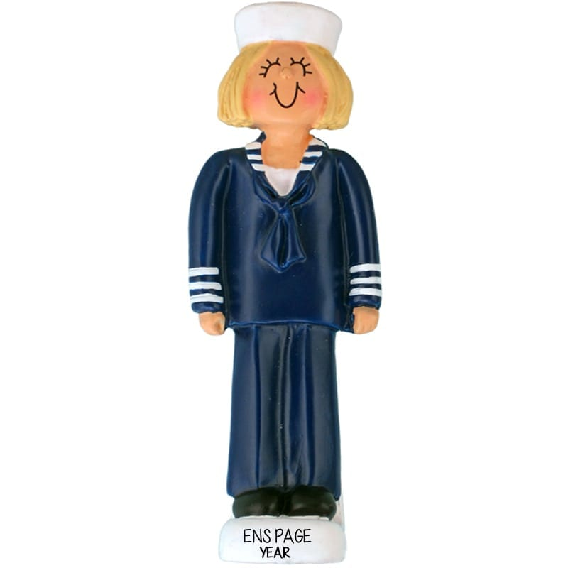 personalized female navy soldier blonde christmas ornament
