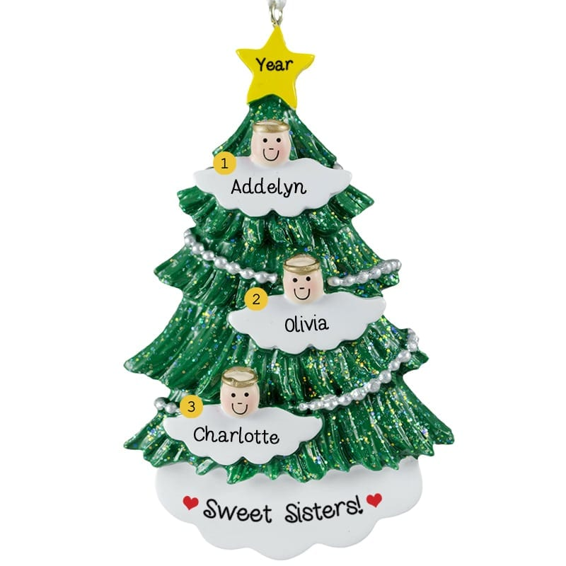personalized 3 sisters angels on tree ornament personalized