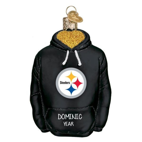 buy online 7265c 2a91f Pittsburgh Steelers Hoodie Personalized Glass Ornament