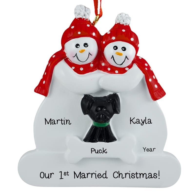 First Married Christmas Snow Couple + BLACK Dog Ornament ...