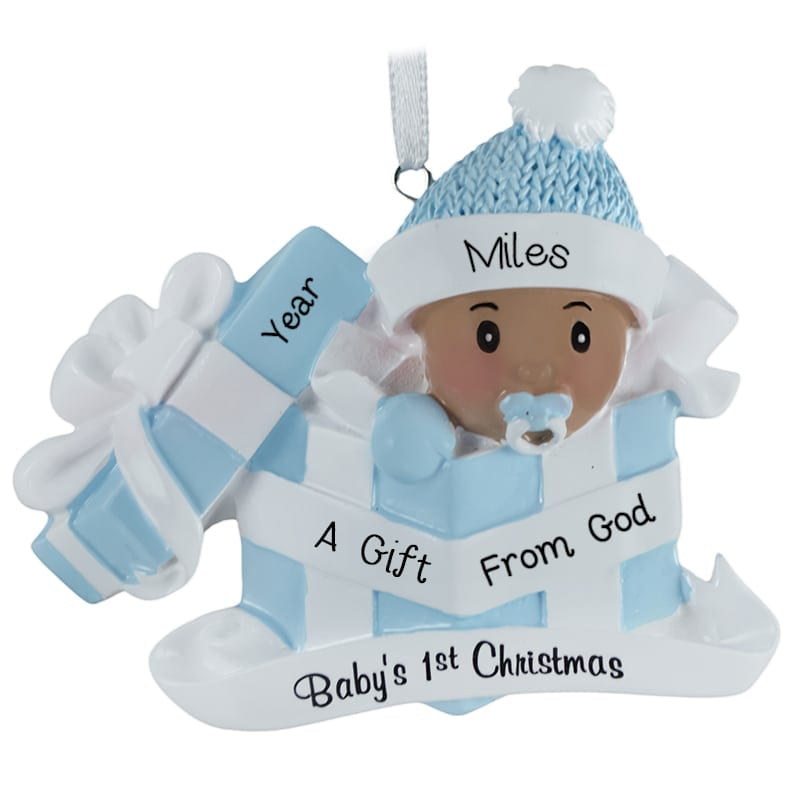 Light brown skin our gift from god baby boy in present ornament light brown skin our gift from god baby negle Choice Image