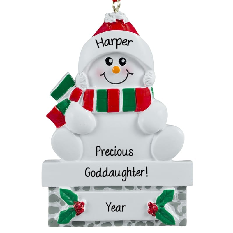 Precious Goddaughter Sweet Snowman On Mantle Ornament | Personalized ...
