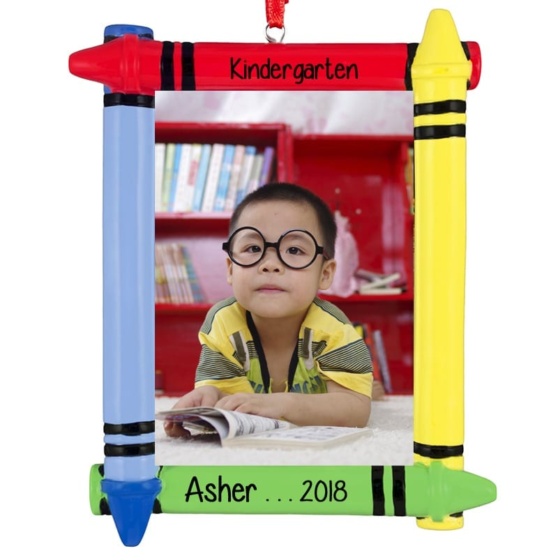 Kindergarten Crayon Picture Frame Personalized Ornament