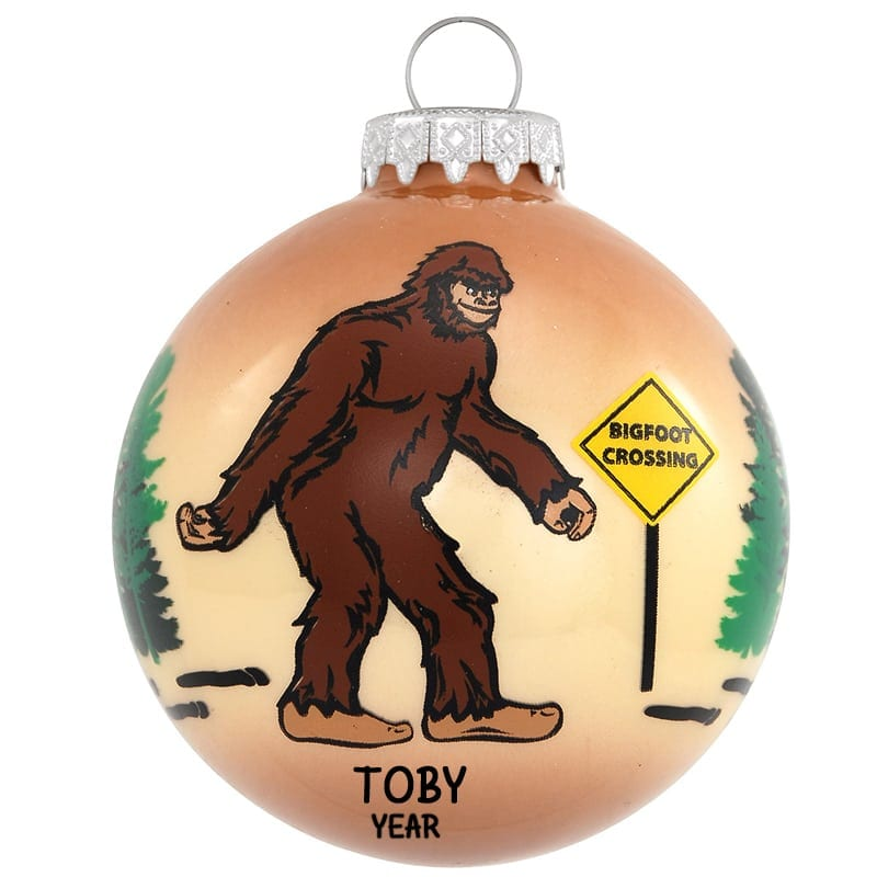 Personalized Bigfoot / Sasquatch Crossing Road Glass Ornament - Personalized Bigfoot / Sasquatch Crossing Road Glass Ornament