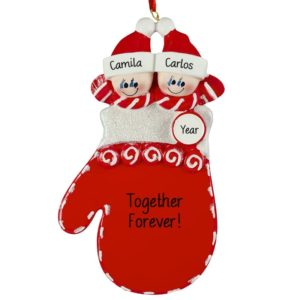 personalized mitten couple shiny red christmas ornament