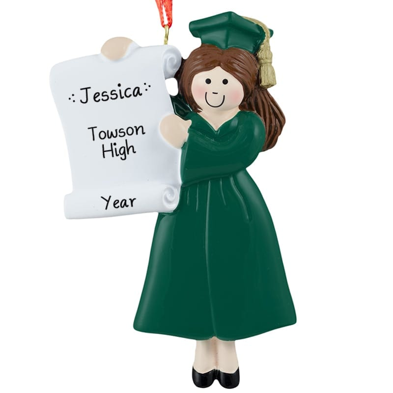 Girl Graduation GREEN Cap & Gown High School Ornament BRUNETTE ...