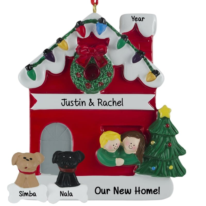 Cat And Dog Chimney Personalized Ornament