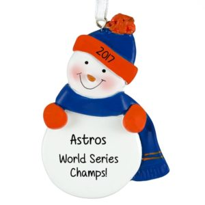 houston astros world series champs snowman blue orange ornament
