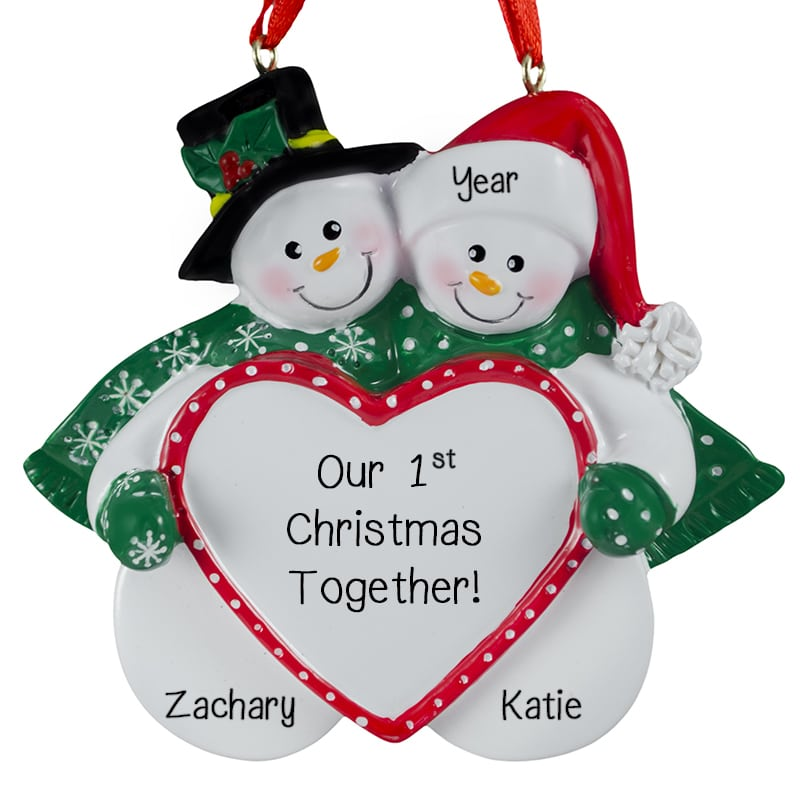 our 1st christmas together snow couple big heart ornament