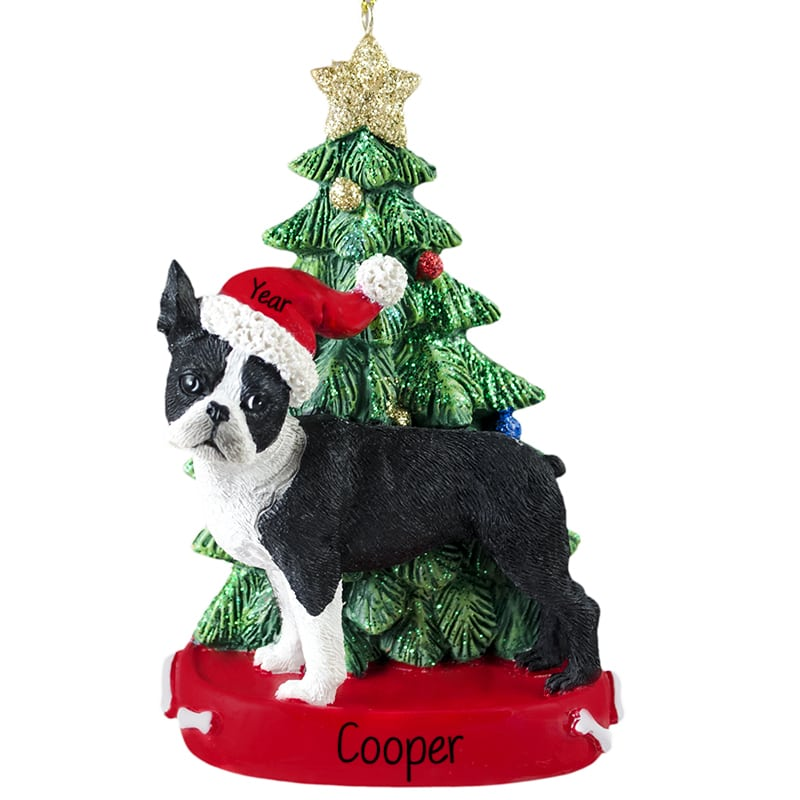 Boston Terrier With Christmas Tree Personalized Ornament