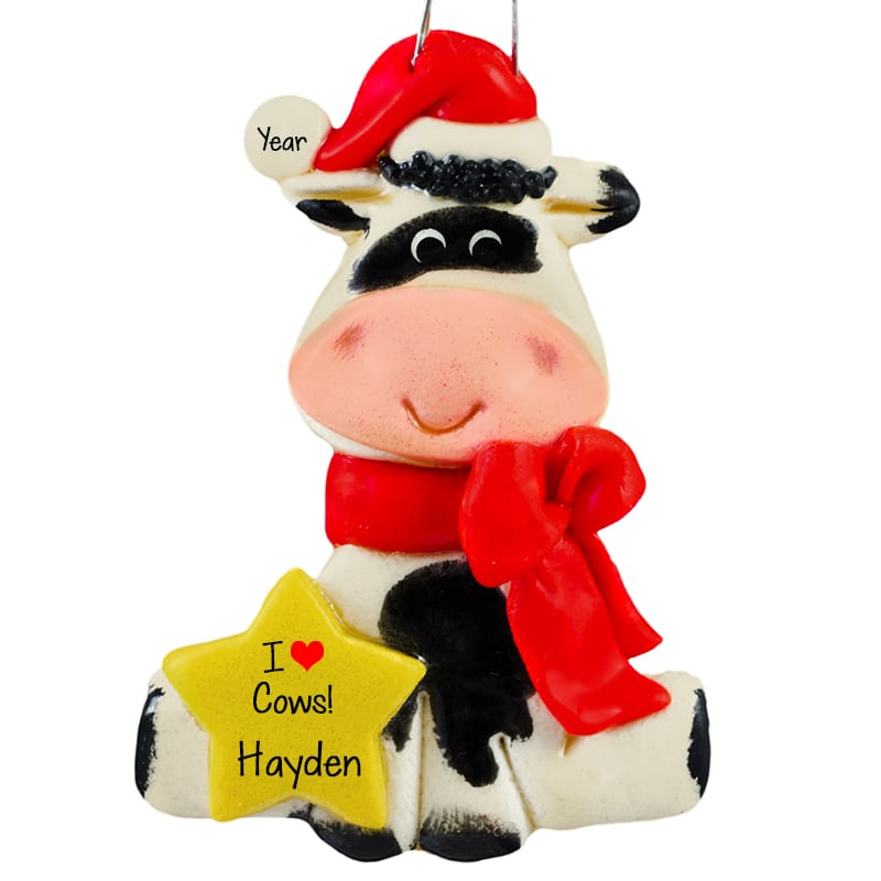 Christmas Cow.Personalized Christmas Cow Handmade In Usa Dough Ornament