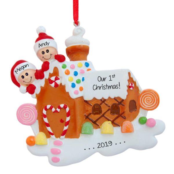 Christmas Gingerbread House Cartoon.Our 1st Christmas Gingerbread House Personalized Ornament