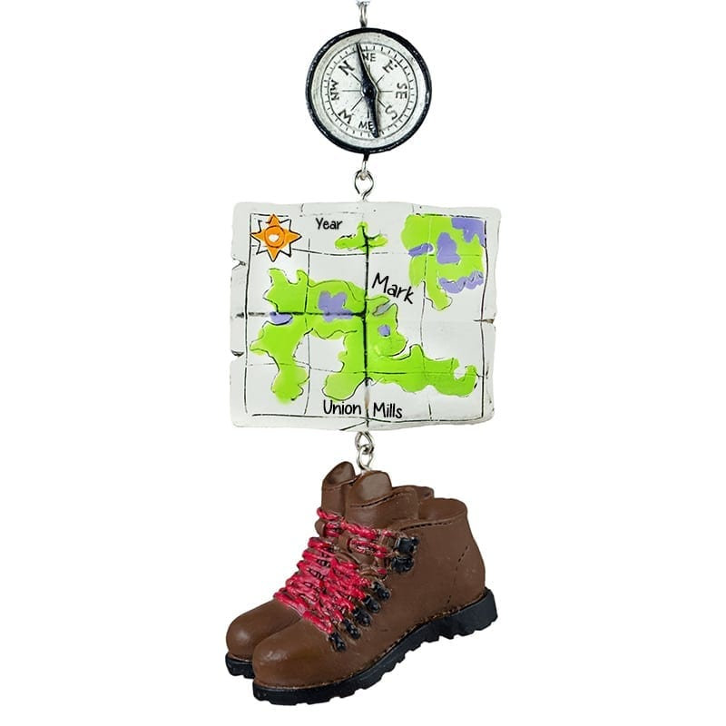Hiking Ornament With Dangling Compass Map & Boots