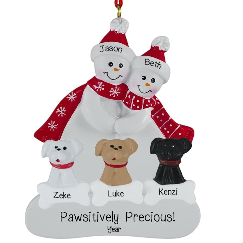 Personalized Christmas Ornaments Couple With Dog
