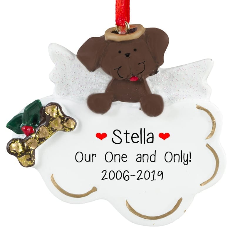 Brown Dog Angel On Cloud Ornament Personalized Ornaments
