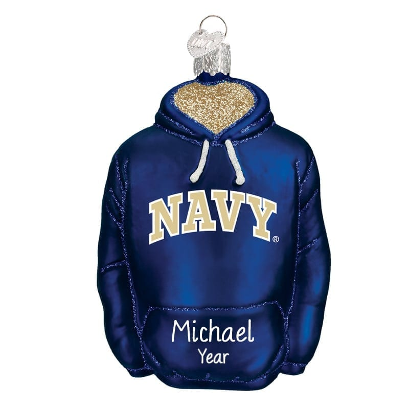 personalized navy hoodie glass christmas