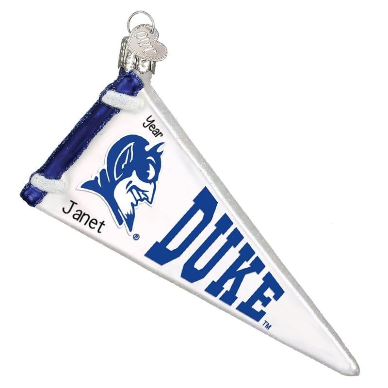 Duke Blue Devils Pennant Glass Personalized Ornament Personalized