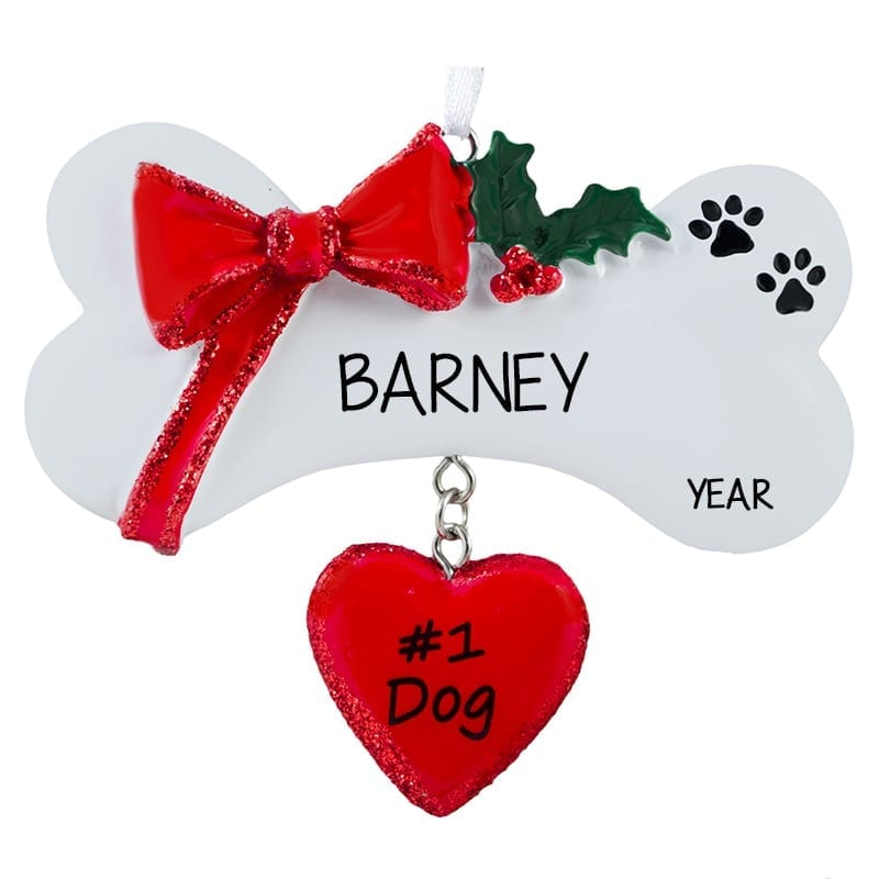 1 Dog Bone With Dangling Heart Christmas Ornament | Personalized ...