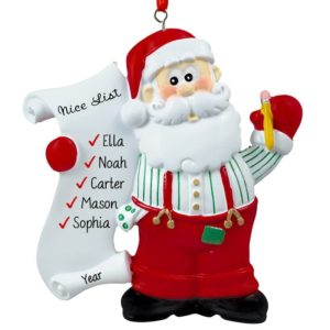 Kid Gift Christmas Nursery 4x3.25 Personalized Santa Ornament Custom Santa Clause Ornament Santa Christmas Ornament Santa Tree Decor