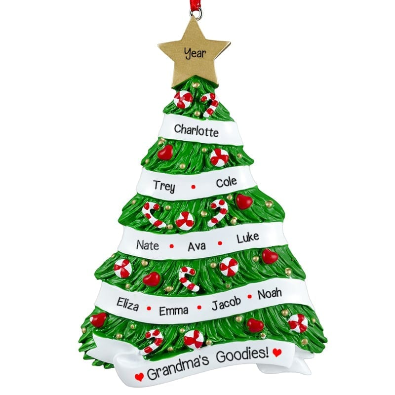 Christmas Decorations With Names On Them: Personalized Christmas Tree Ornament Lots Of Names Holdiay