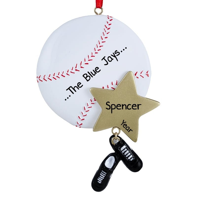 baseball with dangling cleats two sided ornament
