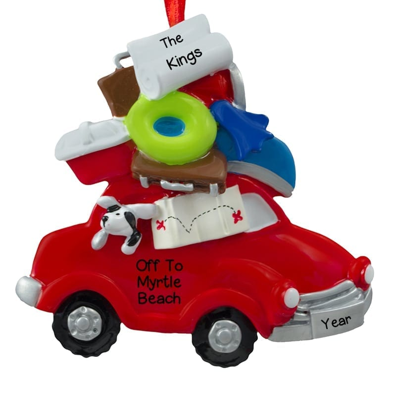Car Christmas Ornaments.Personalized Red Car Road Trip Christmas Ornament
