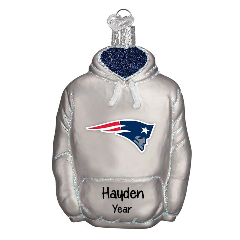 timeless design cf5ef 9d96e New England Patriots Hoodie Personalized Glass Ornament