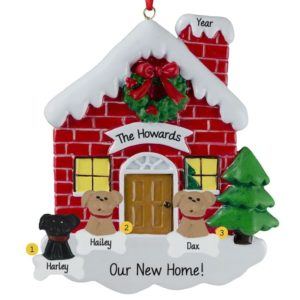 family with 3 dogs in new home red brick house ornament - House Christmas Ornament