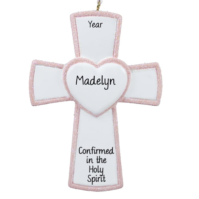 Baptism Ornament Cross Ornament Girl Baptism Ornament Girl: Personalized Girl Confirmation PINK Cross Keepsake