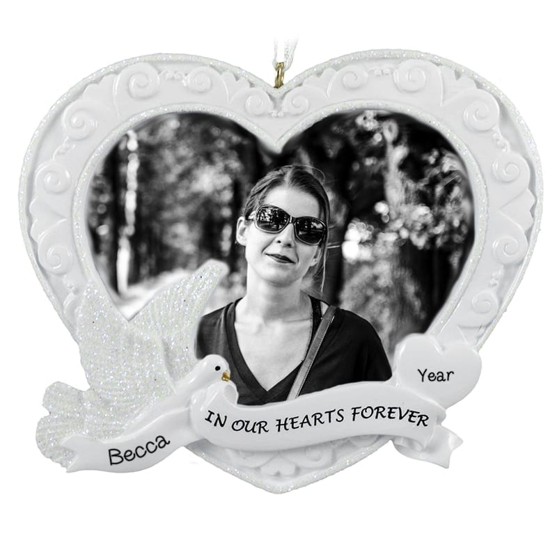 In Our Hearts Forever Memorial Dove Photo Frame Ornament