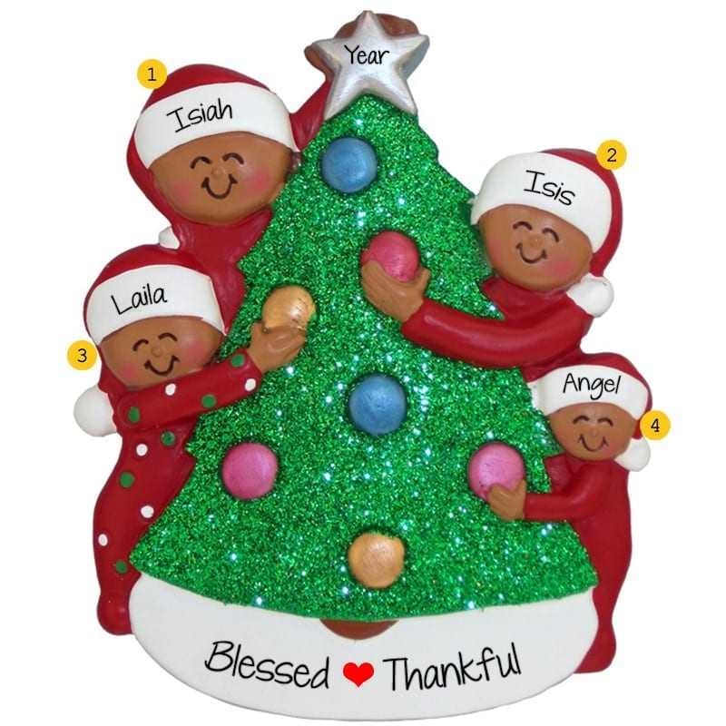 african american couple 2 cats christmasy house ornament