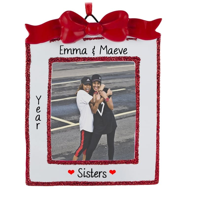 Sisters Picture Frame RED Bow Ornament Easel Back | Personalized ...