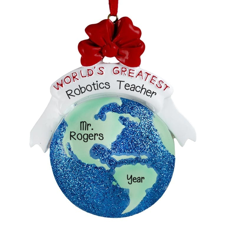 worlds greatest teacher personalized glittered christmas ornament