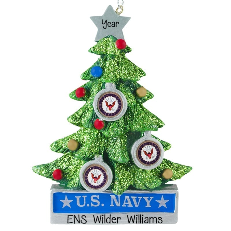 Us Navy Decorated Christmas Tree Personalized Ornament
