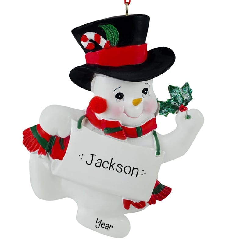 Christmas Top Hat Ornaments.Personalized Snowman Wearing Black Top Hat Ornament