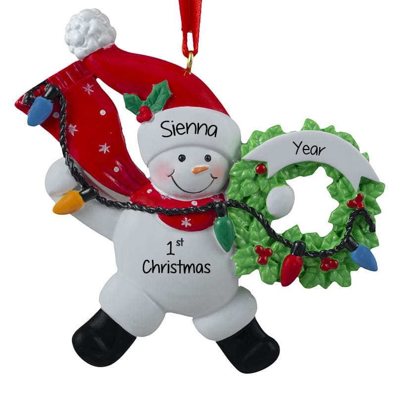 baby girls first christmas in red present ornament