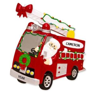 fire truck santa driving personalized christmas ornament - Jeep Christmas Decorations