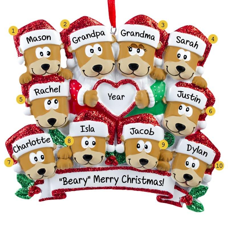 66ba941ce Grandparents + 8 Grandkids Bears Glittered Christmas Ornament