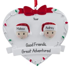 personalized 2 friends on christmasy heart ornament